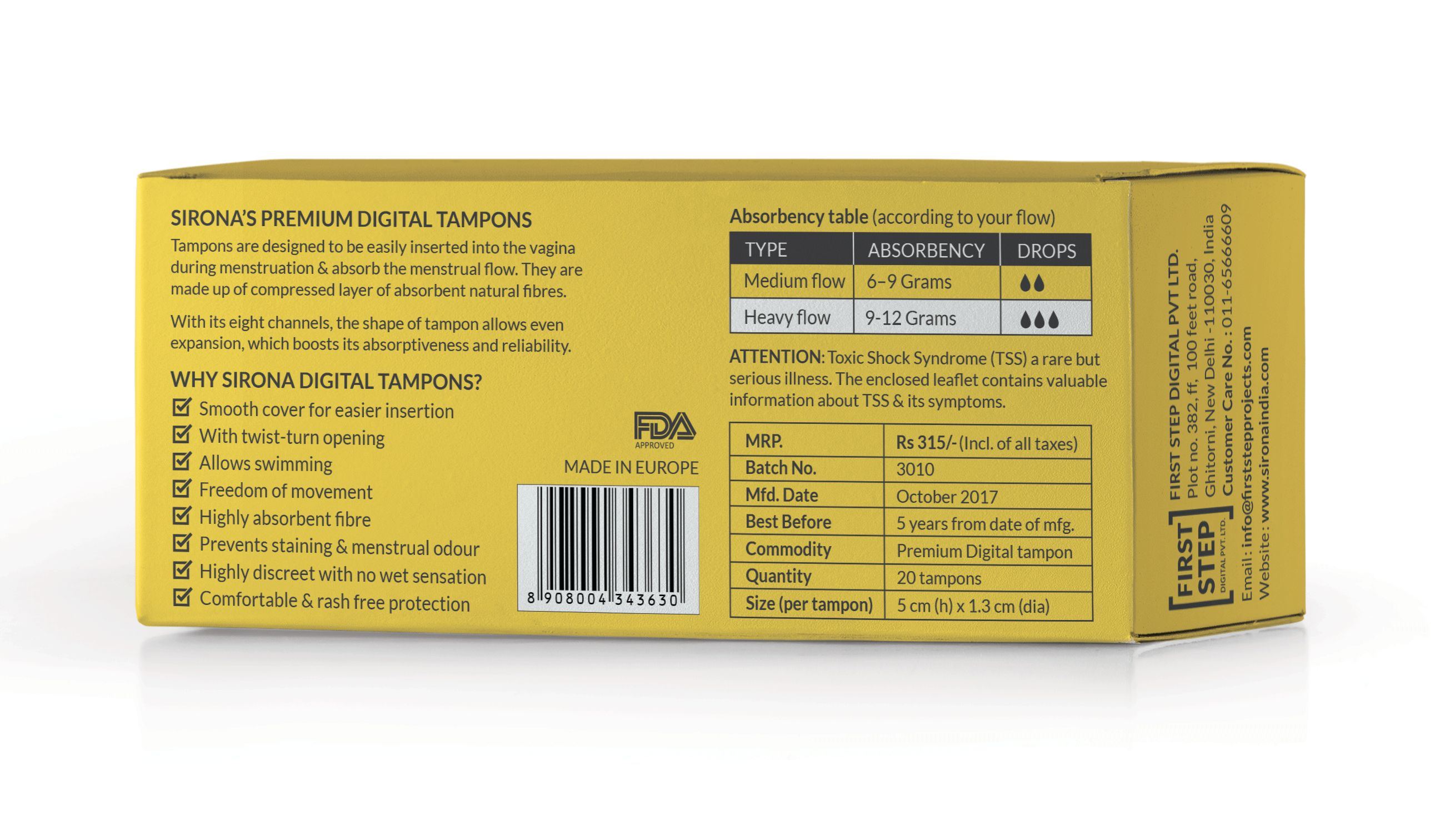 Sirona FDA Approved Premium Digital Tampon For Heavy Flow - 20 Tampon-375666