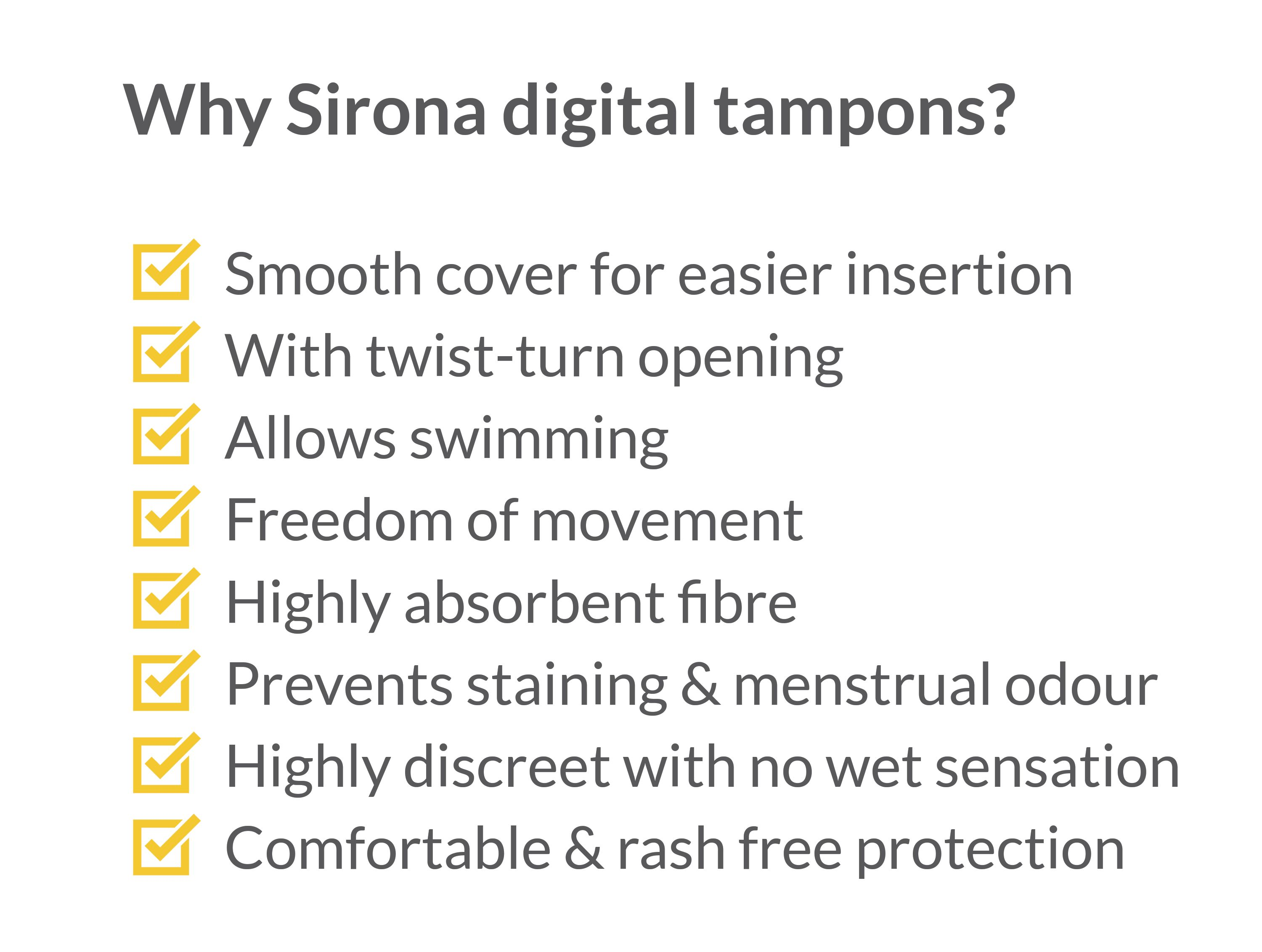 Sirona FDA Approved Premium Digital Tampon For Heavy Flow - 20 Tampon, Pack of 2-375677