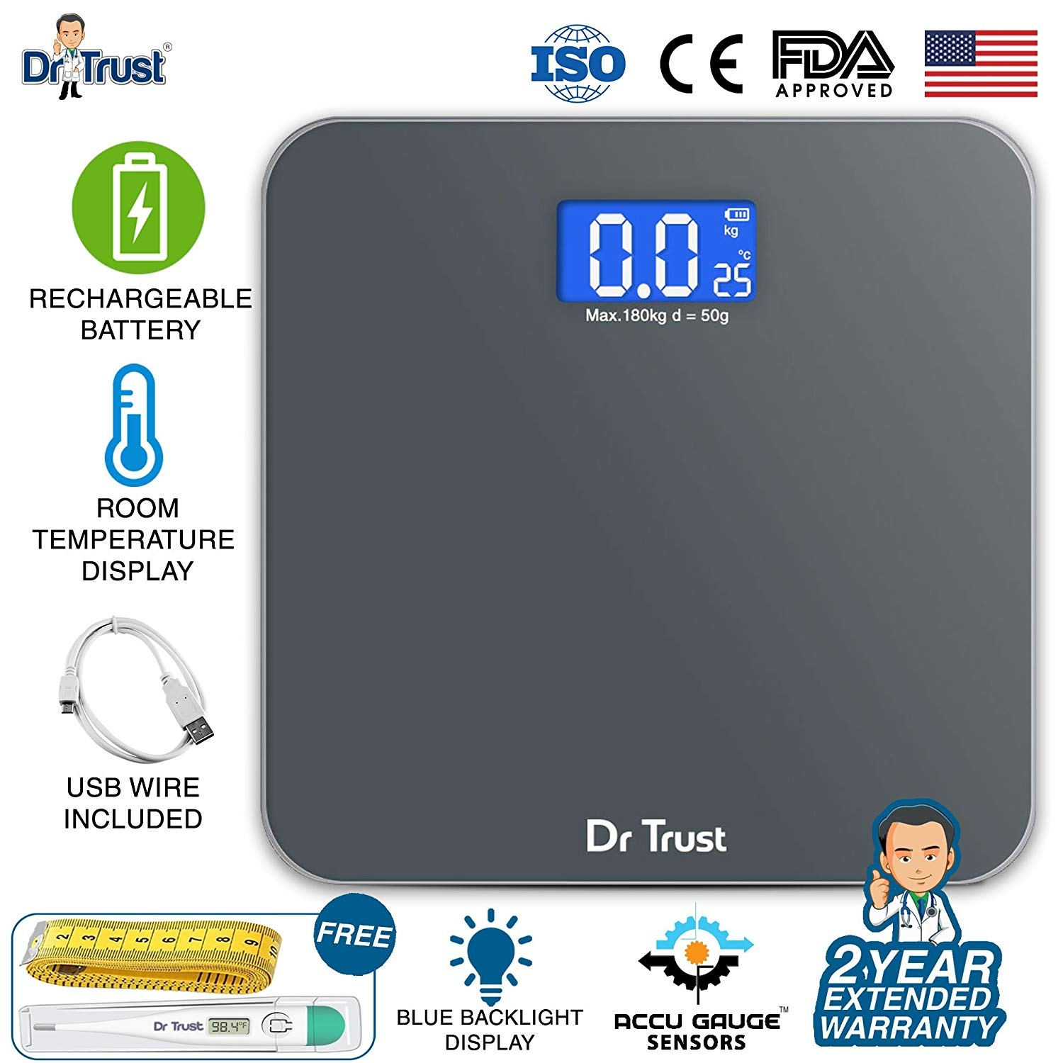 Dr. Trust (USA) Electronic Zen Rechargeable Digital Personal Weighing Scale with Temperature Display - Grey-0
