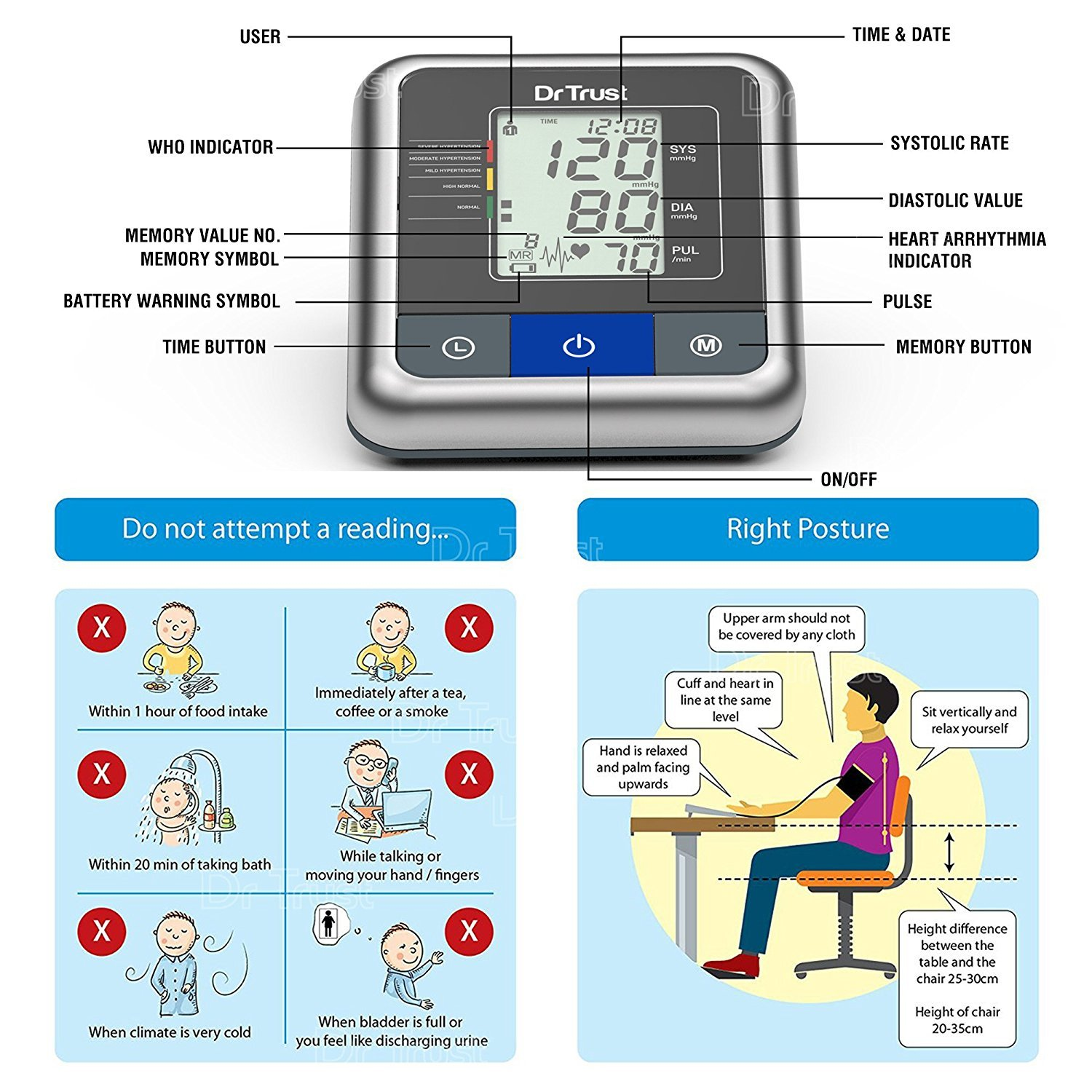 Dr. Trust (USA) A-One Max Hindi & English Dual Talking Digital Blood Pressure Monitor-162814
