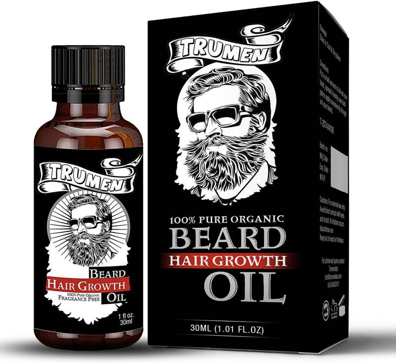 TruMen Beard Growth Oil For Thicker, Soft and Healthy Beard With 100% Natural Ingredients 30ml (1.01 fl.oz) Hair Oil