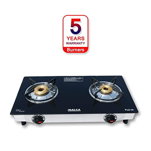 Inalsa Flair Stainless Steel Glass Top 2 Burner Gas Stove