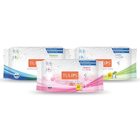 Tulips Refreshing Wet Wipes With Different Fragrances- Pack of 3 (20 Wipes Each) (Japanese Cherry/Magnolia & Summer Fresh