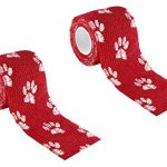A-Tape Cohesive Self Adhesive Elastic Crepe Bandage Red Paw Prints (5 Cm X 4. 5 Meters), Pack of 2