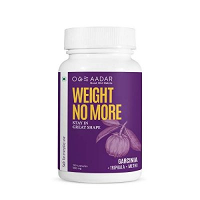 AADAR WEIGHT NO MORE | Natural Weight Loss Supplement | 120 Capsules | Belly Fat Burner for Men and Women | Garcinia Cambogia, Triphala, Fenugreek, Green Tea