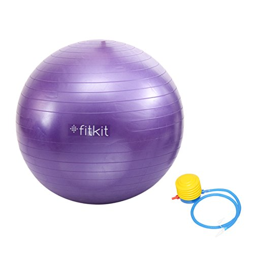 Fitkit Anti-Burst Gym Ball with 4.5-inch Foot Pump, Adult