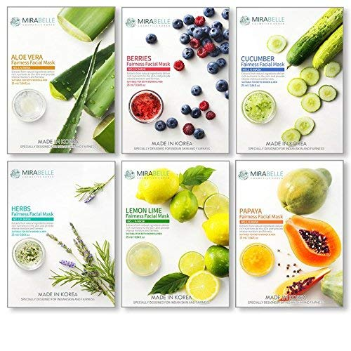MIRABELLE COSMETICS KOREA Fairness Facial Mask (Aloe Vera, Berries, Cucumber, Herbs, Lemon, Papaya) -Combo Pack of 6