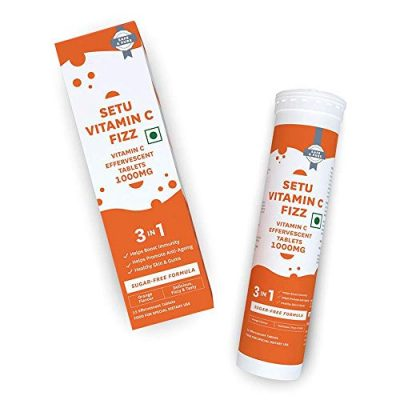 Setu Vitamin C Fizz - 1000 Mg Pure Vitamin C Supplement - Strengthens Immunity, Promotes Anti Aging - Great For Gums And Skin - Orange Flavour - Pure Veg - 15 Effervescent Tablets