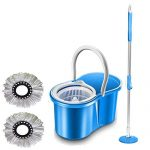 Gtc (Tm) 360° Spin Floor Cleaning Easy Bucket Pvc Mop With 2 Microfiber Heads (Random Color)