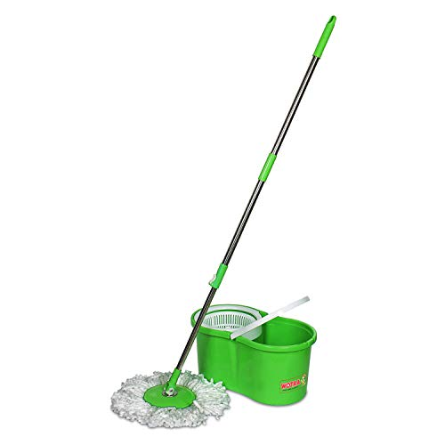 WOTRA Plastic Standard Prime Spin Bucket mop with Easy Wheels for Magic 360 Degree Cleaning and 3 Refills (Green/Grey, Large)