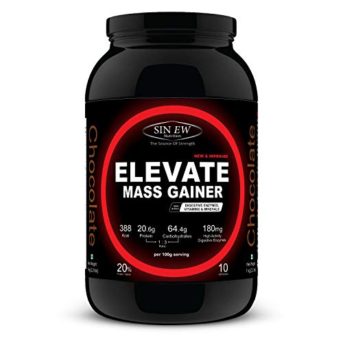 Sinew Nutrition Elevate Mass Gainer with Digestive Enzymes, 1 Kg (Chocolate Flavour)